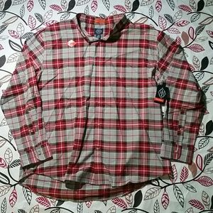 St. John's Bay Performance Red/Gray Plaid Shirt